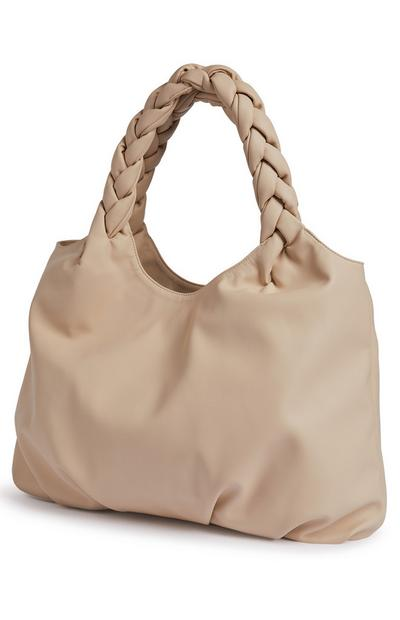 Ivory Plaited Handle Oversized Shopper Bag