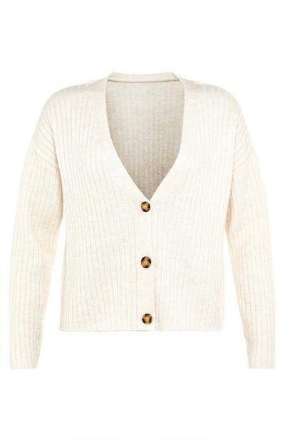 Cream Cosy Rib V-Neck Cardigan