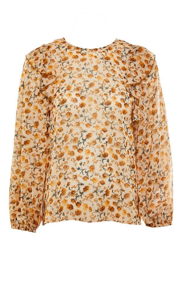 Gele blouse van chiffon met ruches en print