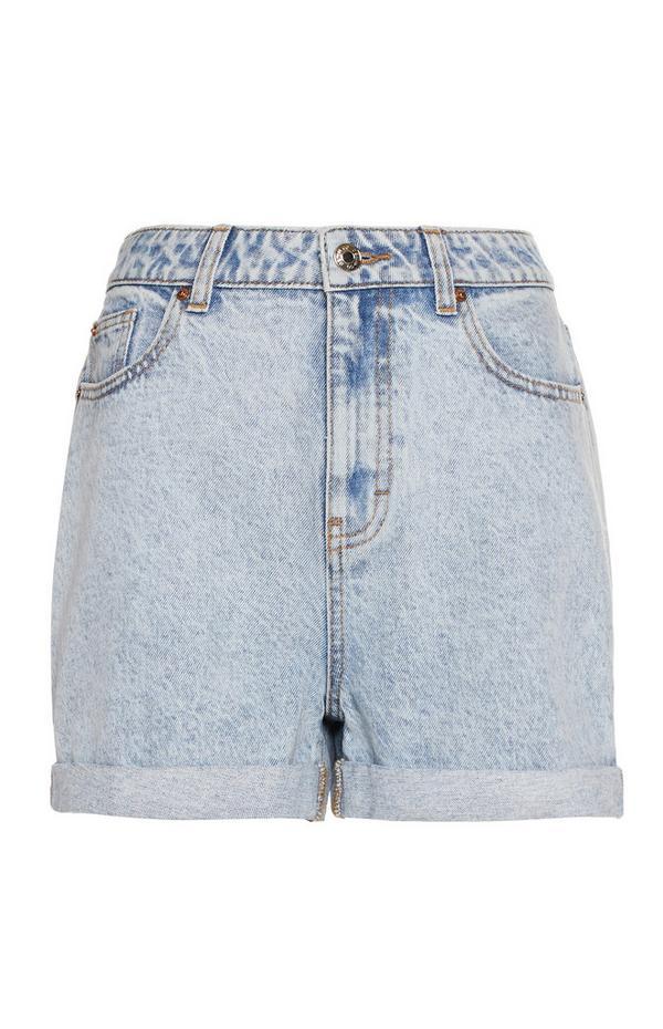 Faded Light Wash Rolled Hem Mom Shorts