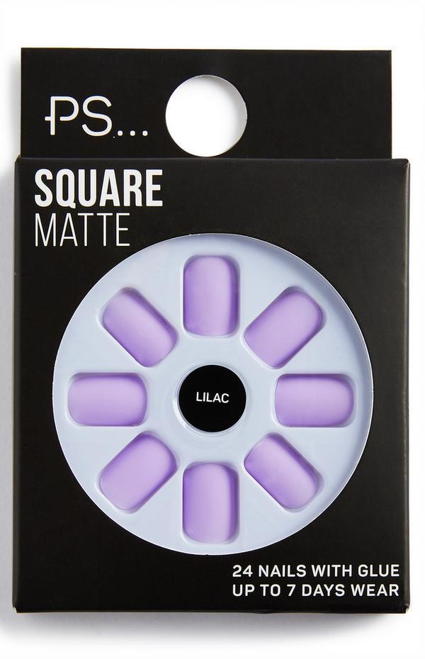 Unhas postiças quadradas mate PS Lilac
