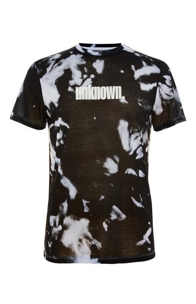 T-shirt met monochrome tie-dye print