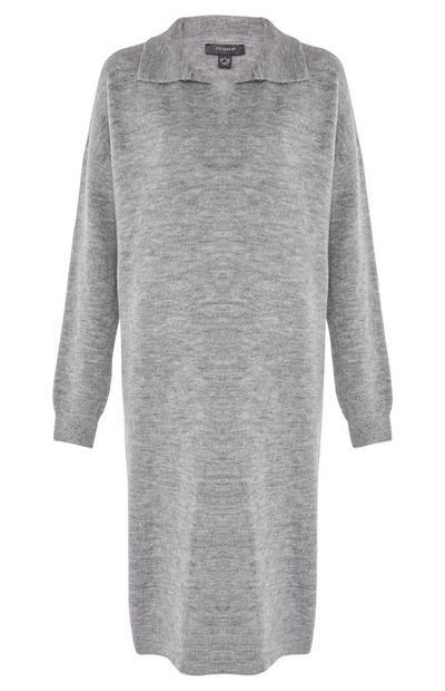 Grey Longline Polo Neck Dress