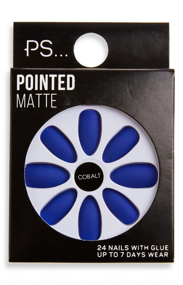 Ps Cobalt Pointed Matte False Nails
