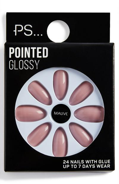Ps Mauve Pointed Glossy False Nails