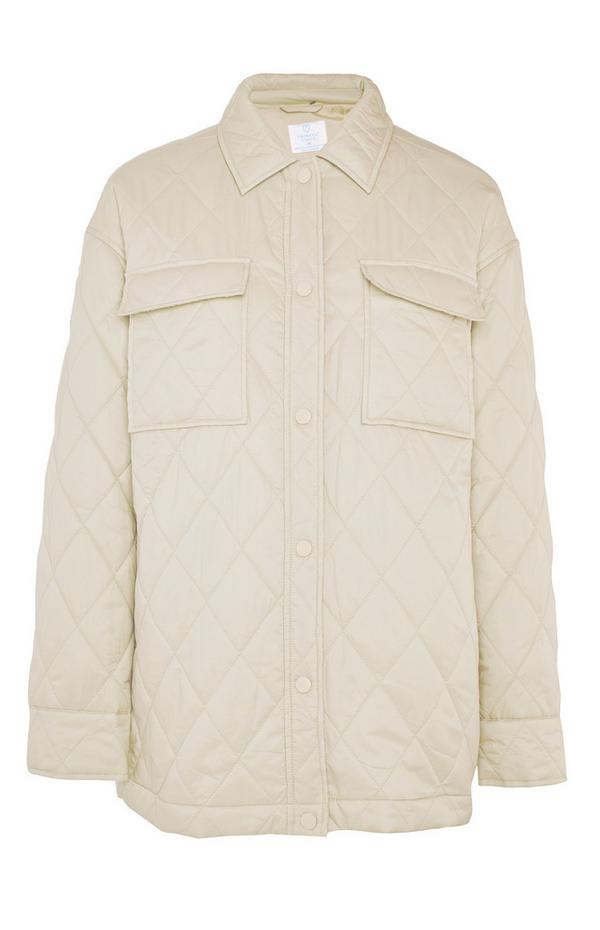 Cream Quilted Button Up Jacket