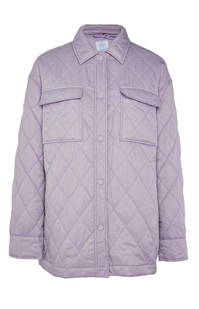 Lilac Quilted Button Up Jacket
