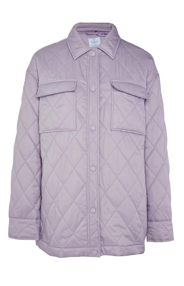 Lilac Quilted Buttoned Jacket