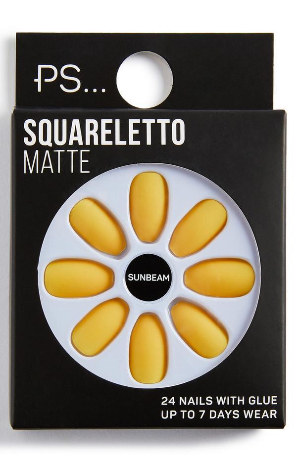 Squareletto matte kunstnagels PS, kleur Sunbeam