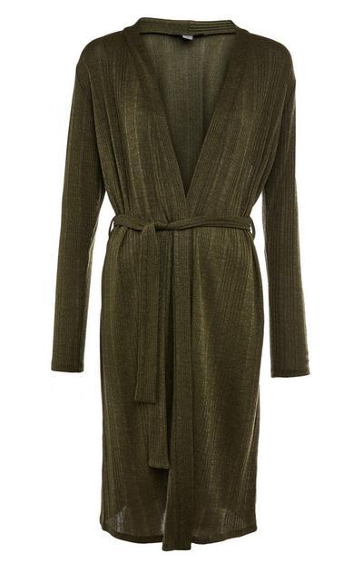 Green Shimmer Cut N Sew Belted Cardigan