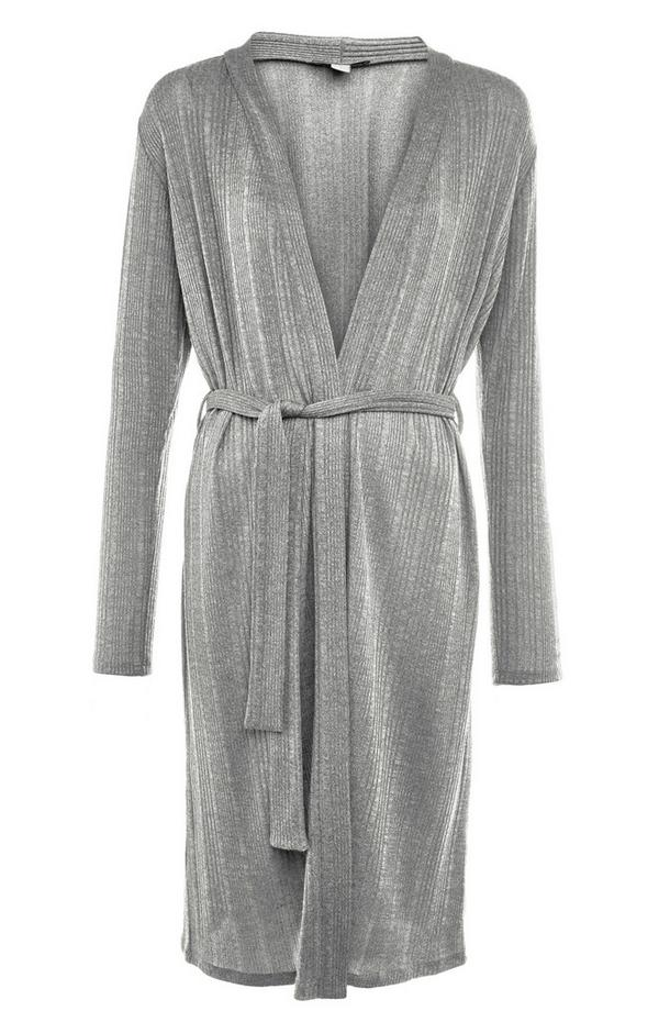 Silver Shimmer Cut N Sew Belted Cardigan