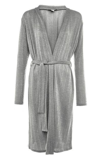 Cardigan argento cut and sew con cintura e finitura satinata