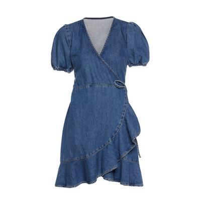 Blue Denim Frill Wrap Short Sleeve Dress