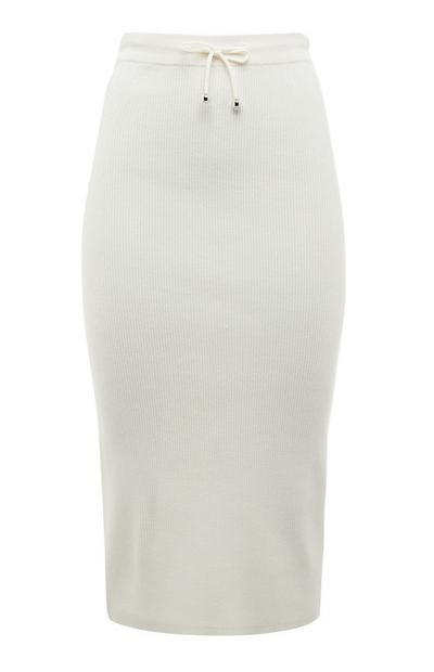 White Draw String Knitted Pencil Midi Skirt