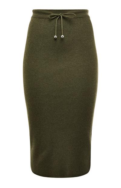 Khaki Draw String Knitted Pencil Midi Skirt