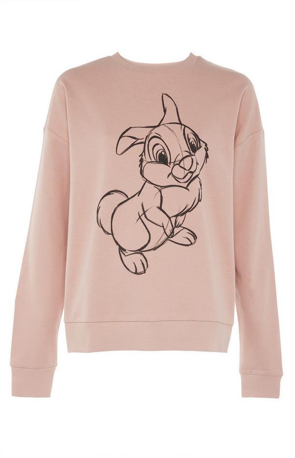 """Rosafarbener Pullover mit """"Disney Klopfer""""-Zeichnung"""