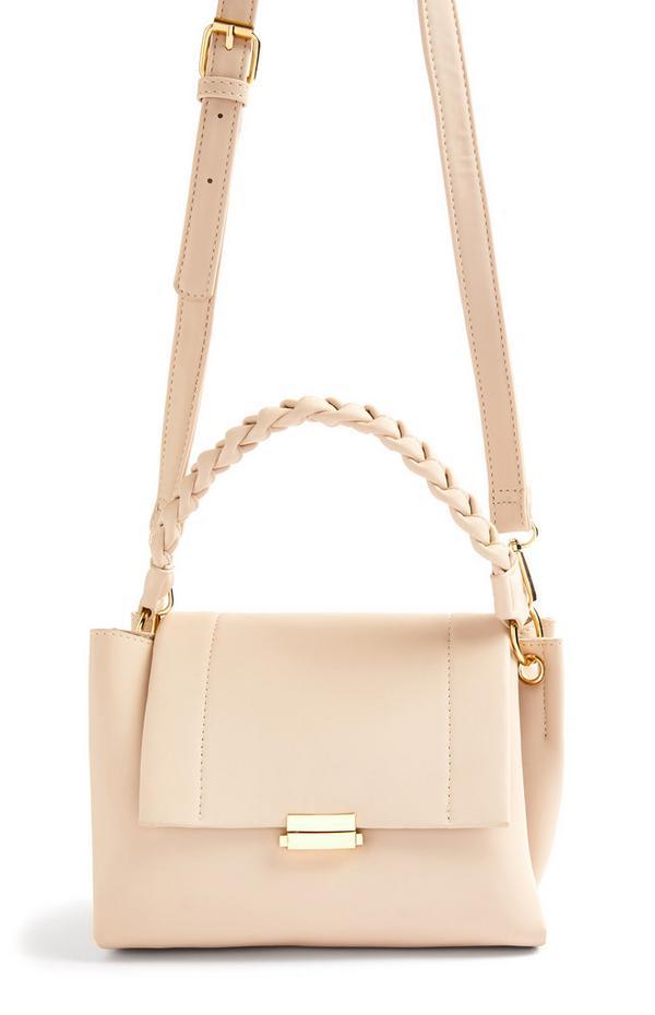 Cream Twist Handle Crossbody Bag