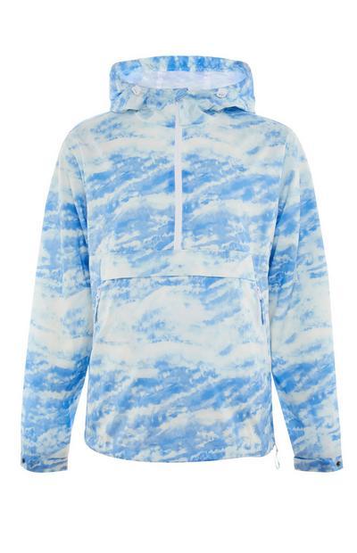 Neenakomerno obarvan moder pulover s kapuco in polzadrgo