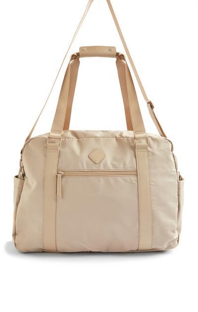 Beige Nylon Weekender Bag