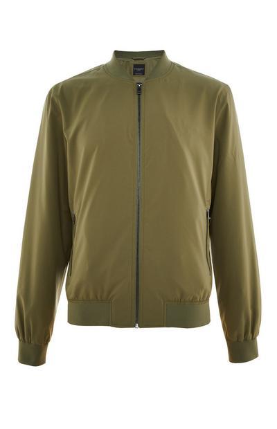 Olive Stretch Bomber Jacket