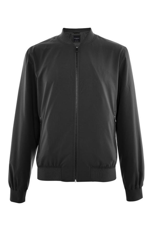 Black Stretch Bomber Jacket