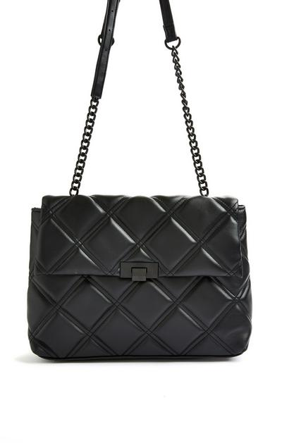 Black Quilted Tonal Oversized Shoulder Bag