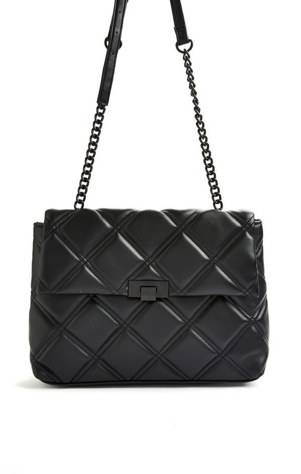 Black Quilted Tonal Oversized Shoulder Bag
