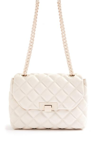 Cream Quilted Tonal Chain Crossbody Bag