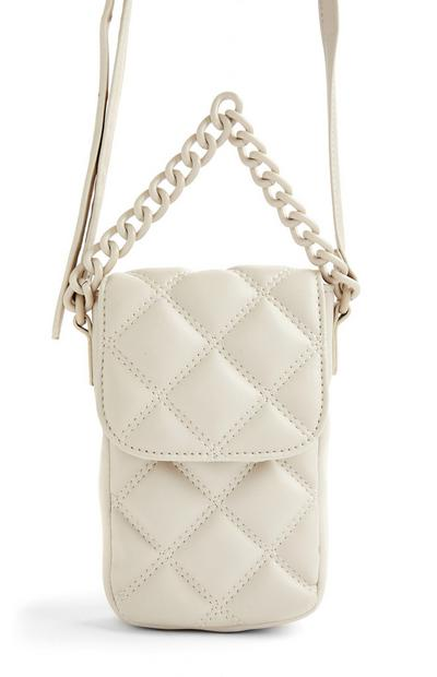 Ivory Quilted Tonal Phone Pouch