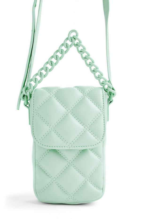 Mint Green Quilted Tonal Phone Pouch