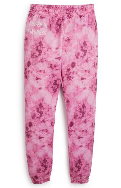 Bas de jogging rose tie and dye ado