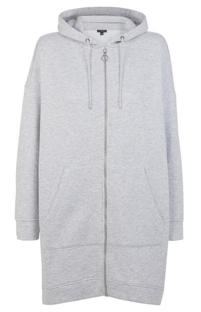 Grey Longline Zip Up Hoodie