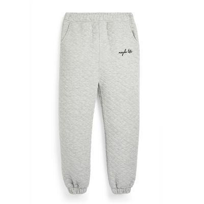 Pantalón de chándal acolchado gris para niña mayor