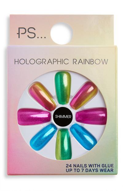 Unghie finte effetto alone sfumato Holographic Rainbow Shimmer Ps