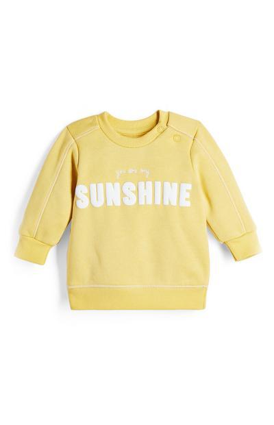 Sudadera amarilla con cuello redondo y estampado «Sunshine» para bebé niño