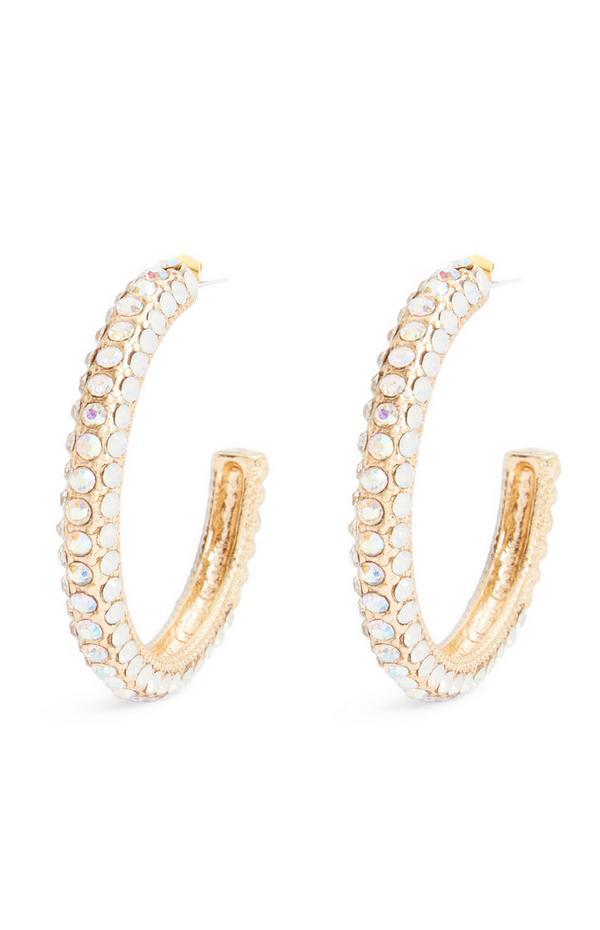 Zlati obročasti uhani z diamantki
