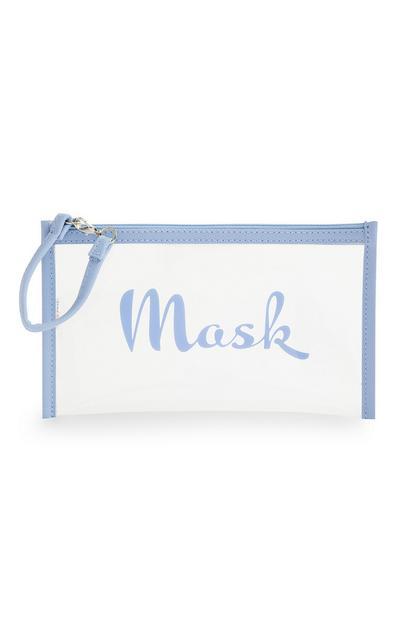 Transparente Maskentasche mit blauem Besatz
