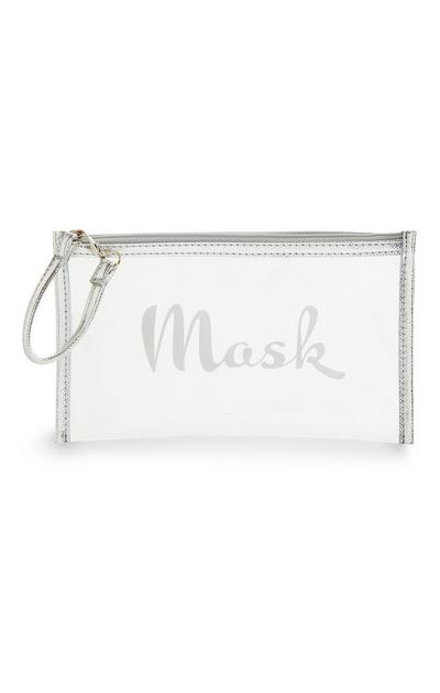 Clear Silver Trim Mask Pouch