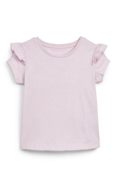 T-shirt rose à volants aux épaules bébé fille