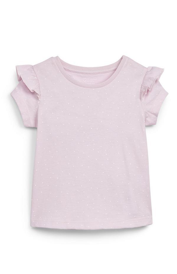Roze T-shirt met ruches op schouders voor baby's (meisjes)
