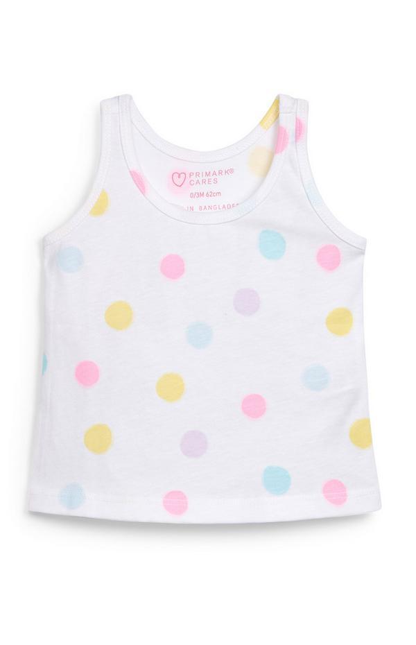 Baby Girl White Polka Dot Print Vest Top