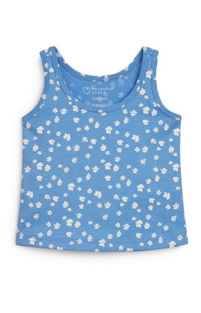 Baby Girl Blue Floral Print Vest Top