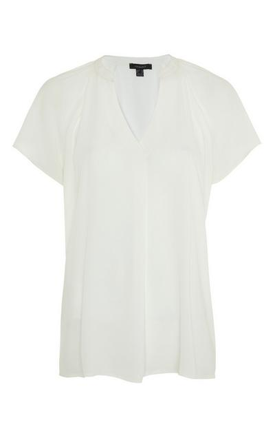 White Shell Flutter V-Neck Blouse