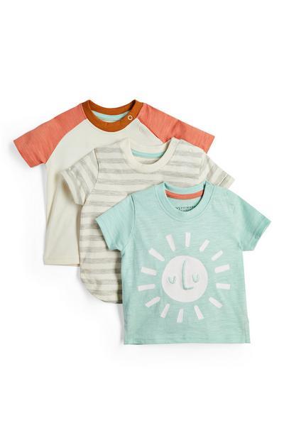 Pack de 3 camisetas con estampado de soles para bebé niña