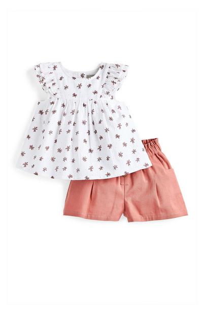 Baby Girl Coral Patterned Blouse And Shorts Set