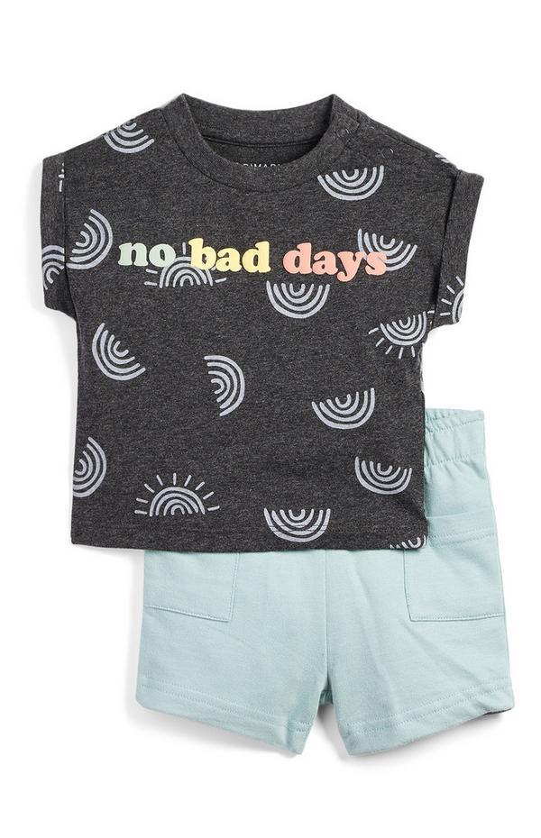 Graues Set mit Slogan-T-Shirt und Shorts mit für Babys (M)
