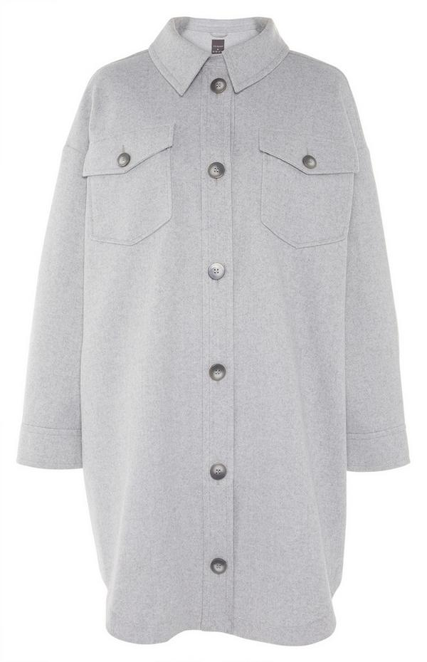 Light Grey Solid Button Up Shacket