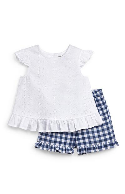 Baby Girl White Broidery Blouse And Shorts Set