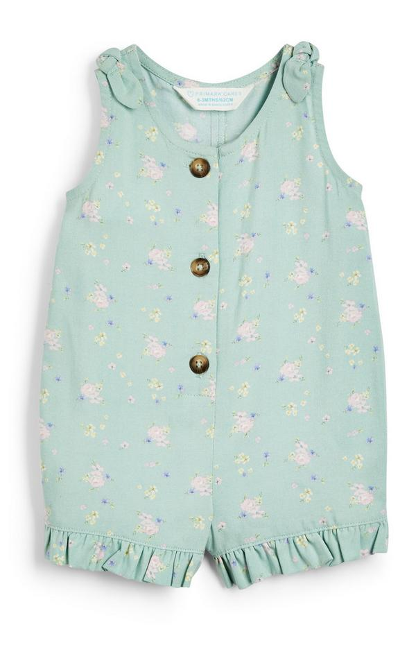 Baby Girl Green Floral Print Viscose Playsuit
