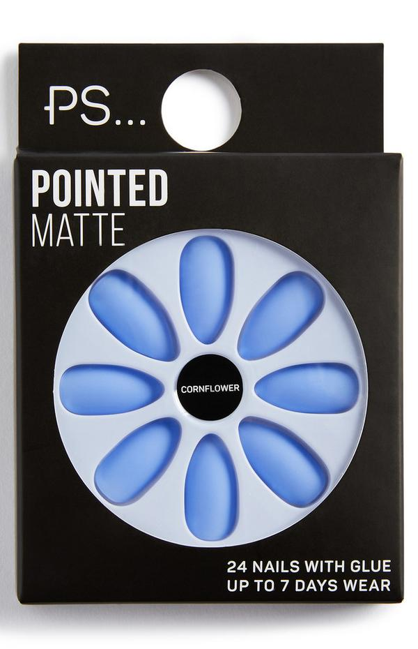 Faux ongles pointus mat PS Cornflower